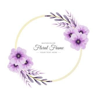 Elegancki handdrawn akwarela kwiatowy szablon ramki z kolorowymi liśćmi i wzorem kwiatowym