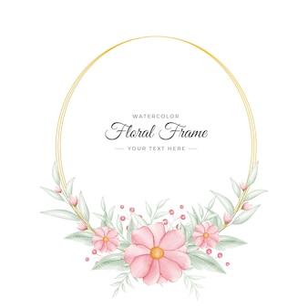 Elegancki handdrawn akwarela kwiatowy szablon ramki