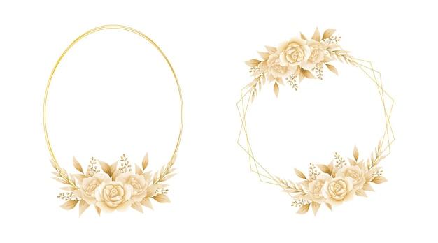 Elegancki handdrawn akwarela kwiatowy wzór szablonu ramki