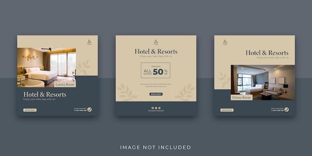 Elegancki hotel i ośrodek w mediach społecznościowych szablon postu na instagramie