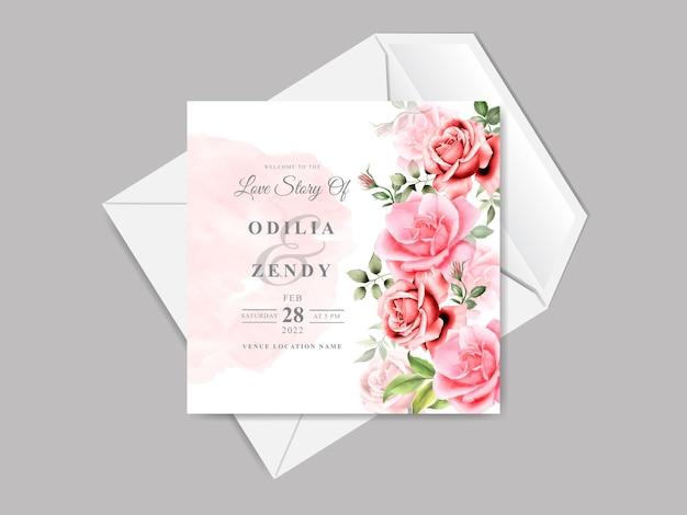 Elegancki i piękny kwiatowy szablon zaproszenia ślubne