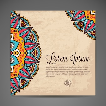 Elegancki indyjski ozdoba na ciemnym tle Stylowy wzór Może służyć jako karta z pozdrowieniami lub zaproszenie na wesele