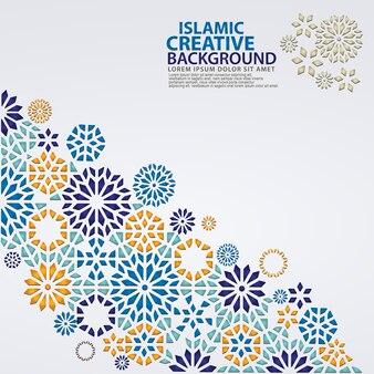 Elegancki islamski kreatywny szablon tła z ozdobną kolorową mozaiką
