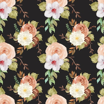 Elegancki jesienny akwarela kwiatowy wzór bez szwu