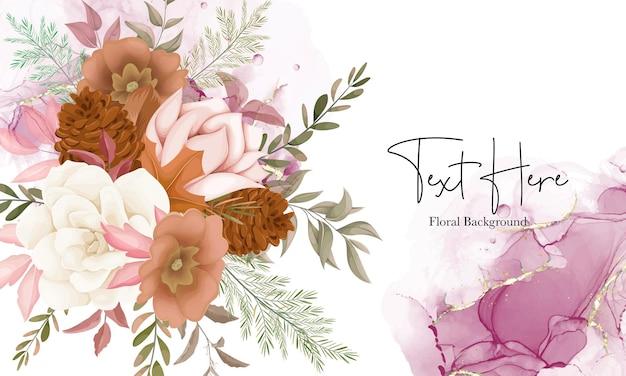 Elegancki jesienny kwiatowy tło z kwiatem róży i sosny
