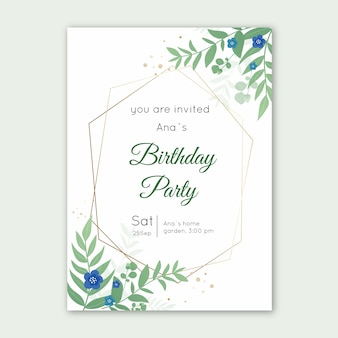 Elegancki kartka urodzinowa szablon z liśćmi