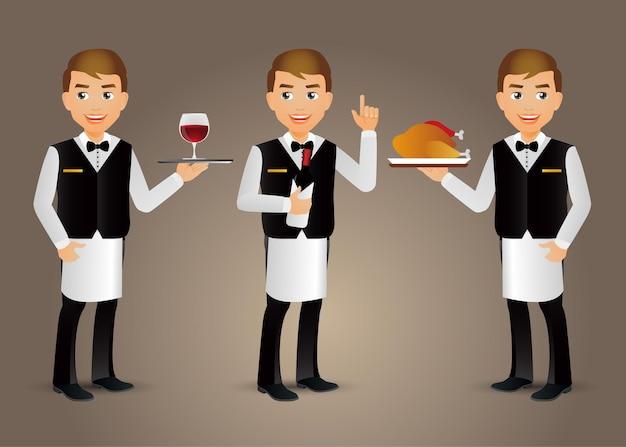 Elegancki kelner profesjonalny