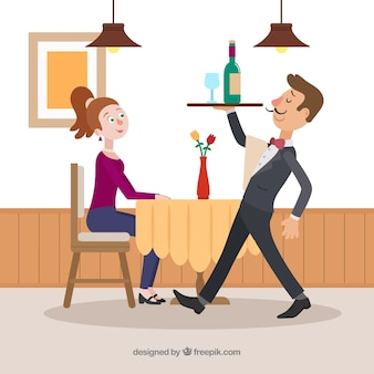 Elegancki kelner serwujący wino o płaskiej konstrukcji
