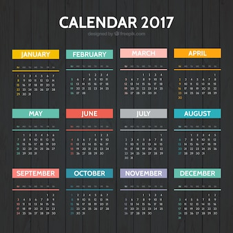 Elegancki kolorowe kalendarz 2017
