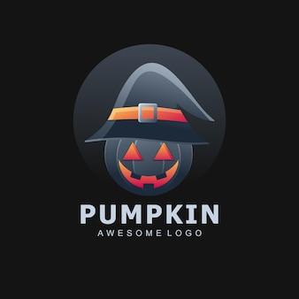 Elegancki kolorowy gradient logo dyni halloween