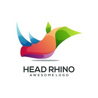 Elegancki kolorowy gradient logo nosorożca