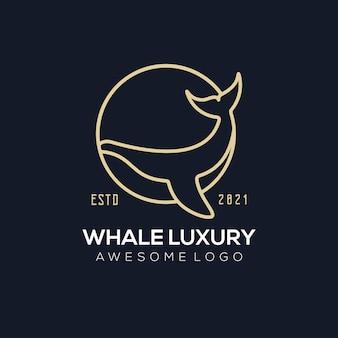 Elegancki kolorowy gradient logo wieloryba