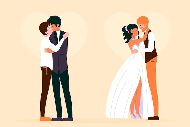 Elegancki koncepcja ilustracji z par ślubnych
