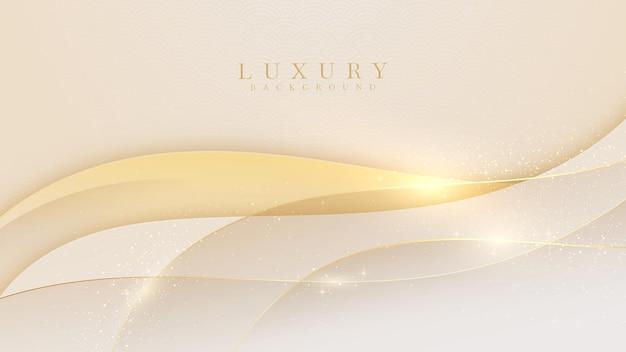 Elegancki kremowy odcień tła ze złotymi elementami linii. realistyczny luksusowy styl cięcia papieru 3d nowoczesna koncepcja. ilustracji wektorowych do projektowania.
