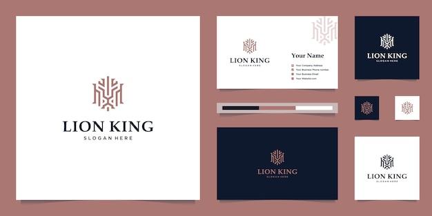 Elegancki król lew ze stylowym wzornictwem graficznym i logo inspirującym wizytówką luksusowe logo