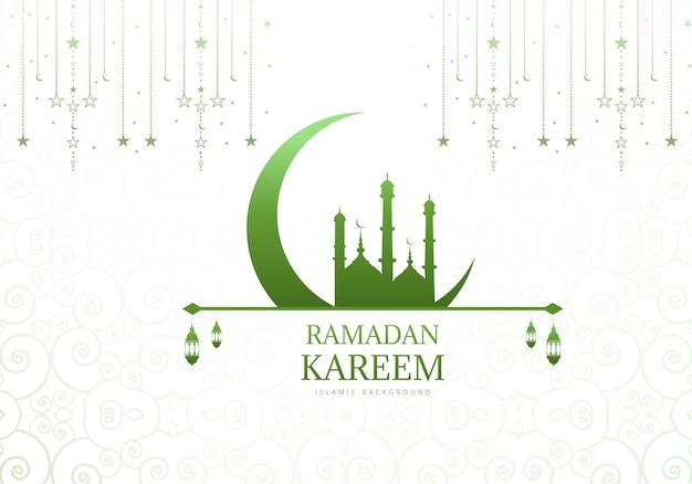 Elegancki księżyc z meczetowym ramadan kareem tłem
