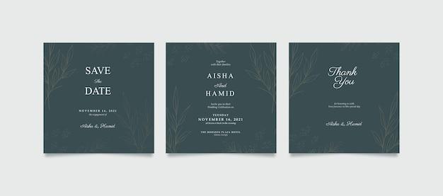 Elegancki kwadratowy szablon zaproszenia ślubne