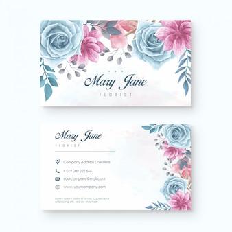 Elegancki kwiaciarnia wizytówki szablon z akwarelą kwiecistą