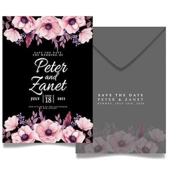 Elegancki kwiat cyfrowy ślub imprezowy karta zaproszenia do edycji szablon