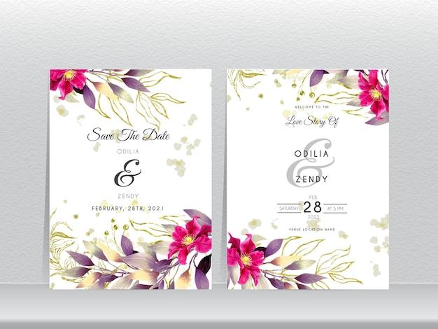 Elegancki kwiat i liście szablon zaproszenia ślubne