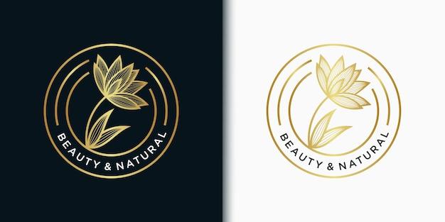 Elegancki kwiat szablon logo godła dla urody, kosmetyków, jogi, ślubu, spa, salonu, butiku i innych produktów kosmetycznych