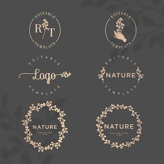 Elegancki kwiatowy natura botaniczna ramka logo zestaw edytowalnych szablonów