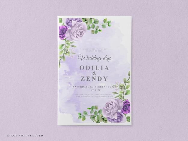 Elegancki kwiatowy ręcznie rysowane szablon karty zaproszenie na ślub