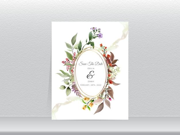 Elegancki kwiatowy ręcznie rysowane szablon zaproszenia ślubne złoty wieniec