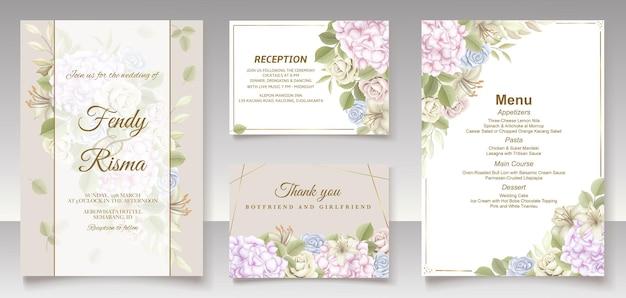 Elegancki kwiatowy szablon karty ślubu i menu