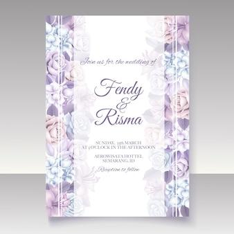 Elegancki kwiatowy szablon karty ślubu