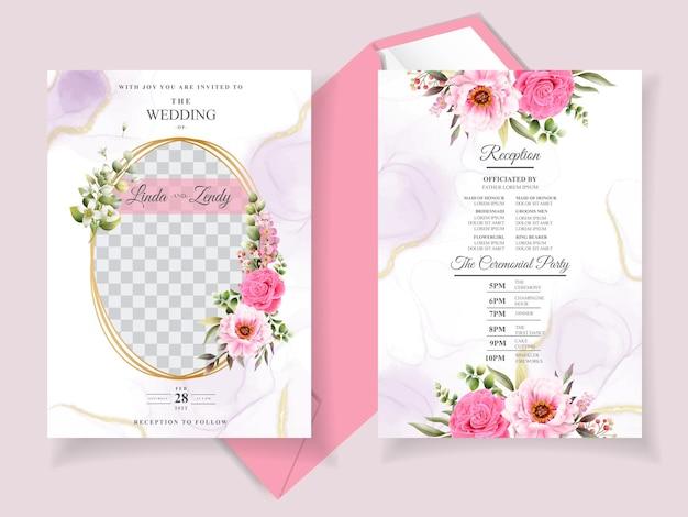 Elegancki kwiatowy szablon zaproszenia na ślub
