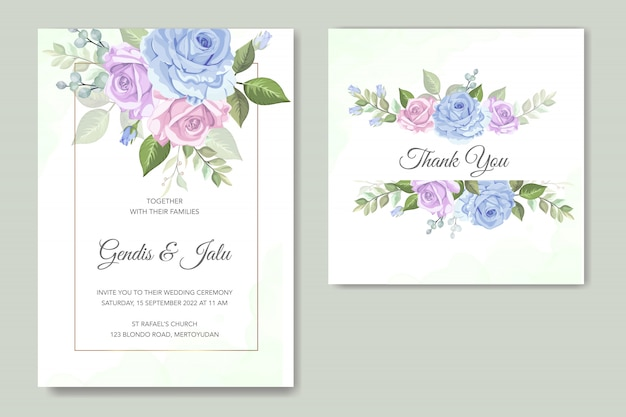 Elegancki kwiatowy szablon zaproszenia ślubne