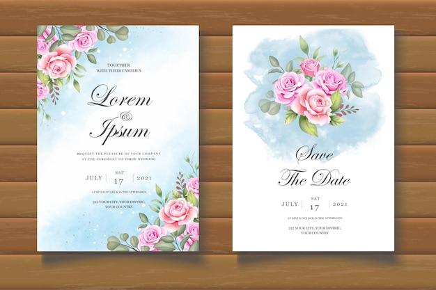 Elegancki kwiatowy szablon zaproszenia ślubnego
