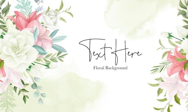 Elegancki kwiatowy tło z ręcznie rysującym miękkim kwiatem i liśćmi