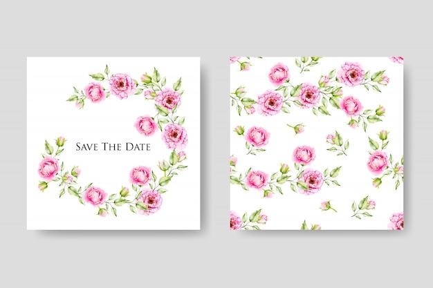 Elegancki kwiatowy wesele i zaproszenie szablon karty
