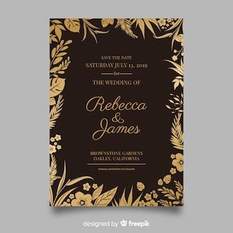 Elegancki kwiatowy wesele zaproszenie szablon