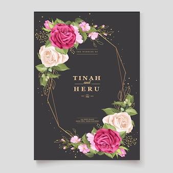 Elegancki kwiatowy wzór karty ślubu