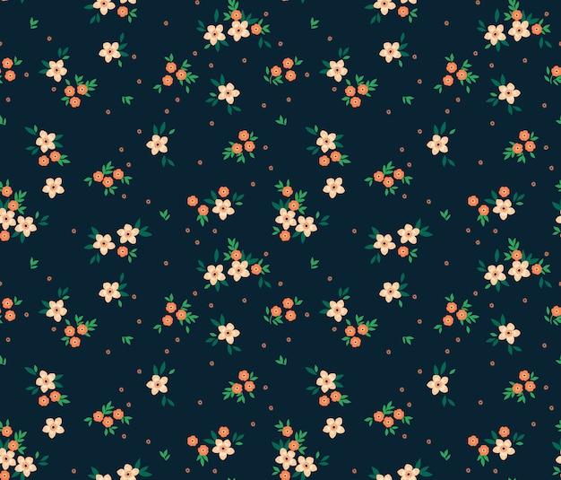 Elegancki kwiatowy wzór w małe białe kwiatki.