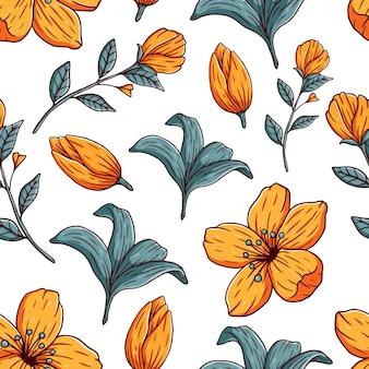 Elegancki kwiatowy wzór w małe dłonie rysują kwiaty. tekstura wektor bez szwu
