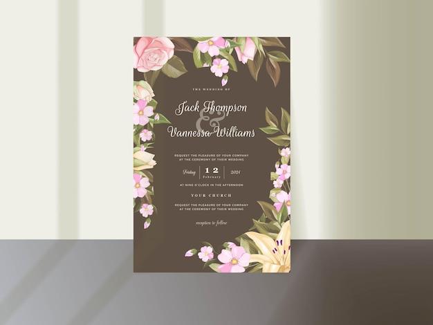Elegancki kwiatowy zaproszenia ślubne szablon karty