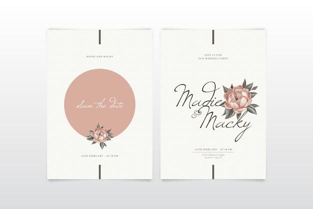Elegancki kwiatowy zaproszenia ślubne szablon