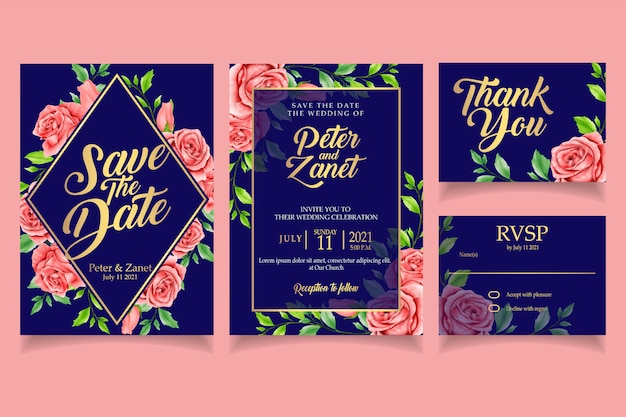 Elegancki kwiatowy zaproszenie na ślub karty szablon akwarela