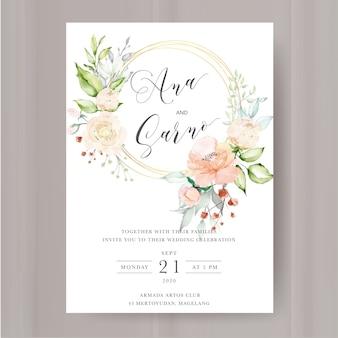 Elegancki kwiatowy zaproszenie z ramą kwiaty akwarela