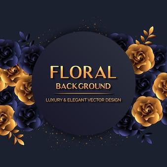 Elegancki kwiecisty tło z złotymi kwiatami