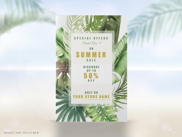 Elegancki letni transparent z tropikalnymi liśćmi