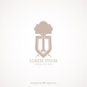 Elegancki logotyp tarczy z drzewem