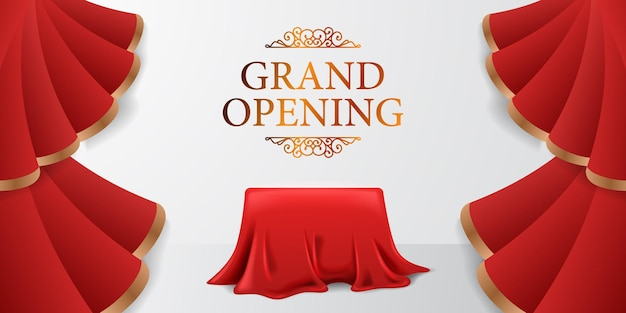 Elegancki, luksusowy baner z wielkim otwarciem z czerwoną falą jedwabnej kurtyny otwarty z ilustracją z tkaniny okładkowej z białym tłem i złotym tekstem