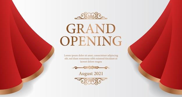 Elegancki luksusowy uroczysty baner otwierający z czerwoną jedwabną kurtyną otwartą