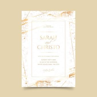 Elegancki marmurowy szablon zaproszenia ślubne ze złotymi detalami