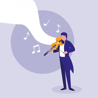 Elegancki mężczyzna grający na skrzypcach klasycznych